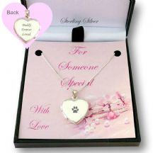 Sterling Silver Engraved Heart Locket with Paw Print